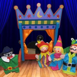 Finger Puppets (6) With Wooden Theater