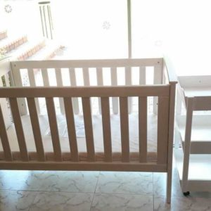 White Wooden Convertible Cot and Trolley