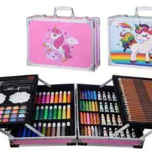 Kids Pink/Blue Unicorn 145 Piece Art Set